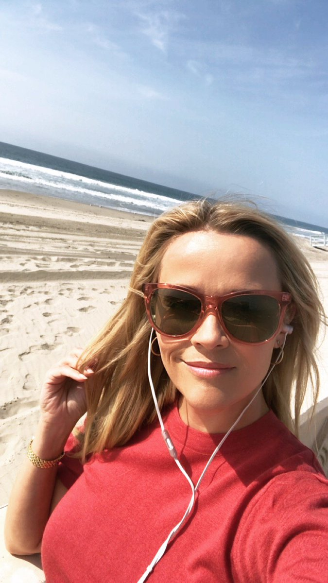 On a set break from #BigLittleLies, I came to the beach to enjoy a good story… and now you can too!! I'm so excited to announce that my book club is now on @audible_com! bit.ly/ReesesBookClub… #HelloSunshineAudible
