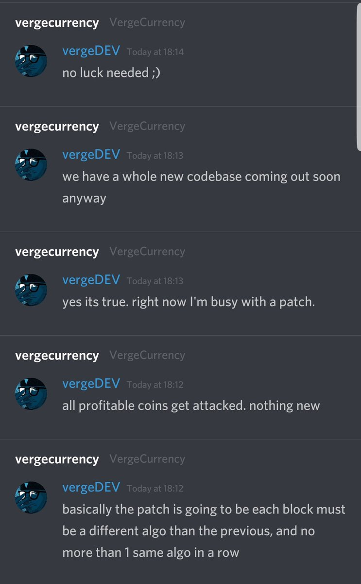 Everything is under control with @vergecurrency  Great job  @justinvendetta and team for sorting this issue out so quickly, Nothing to worry about #Vergefam  Amazing news from this is that #Verge is completely upgrading and getting a new Codebase  $Xvg #Xvg #Savage<br>http://pic.twitter.com/HkEDhCmkuh