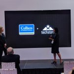 Lauren and @AnjeeSolankiCRE presenting on the @colliers #PropTech Accelerator powered by @techstars. This program is the first of it's kind and will change the future of #CRE