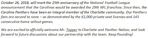 We officially welcome David Tepper as new owner of the @Panthers - my full statement:<br>http://pic.twitter.com/sPGgwlKd41