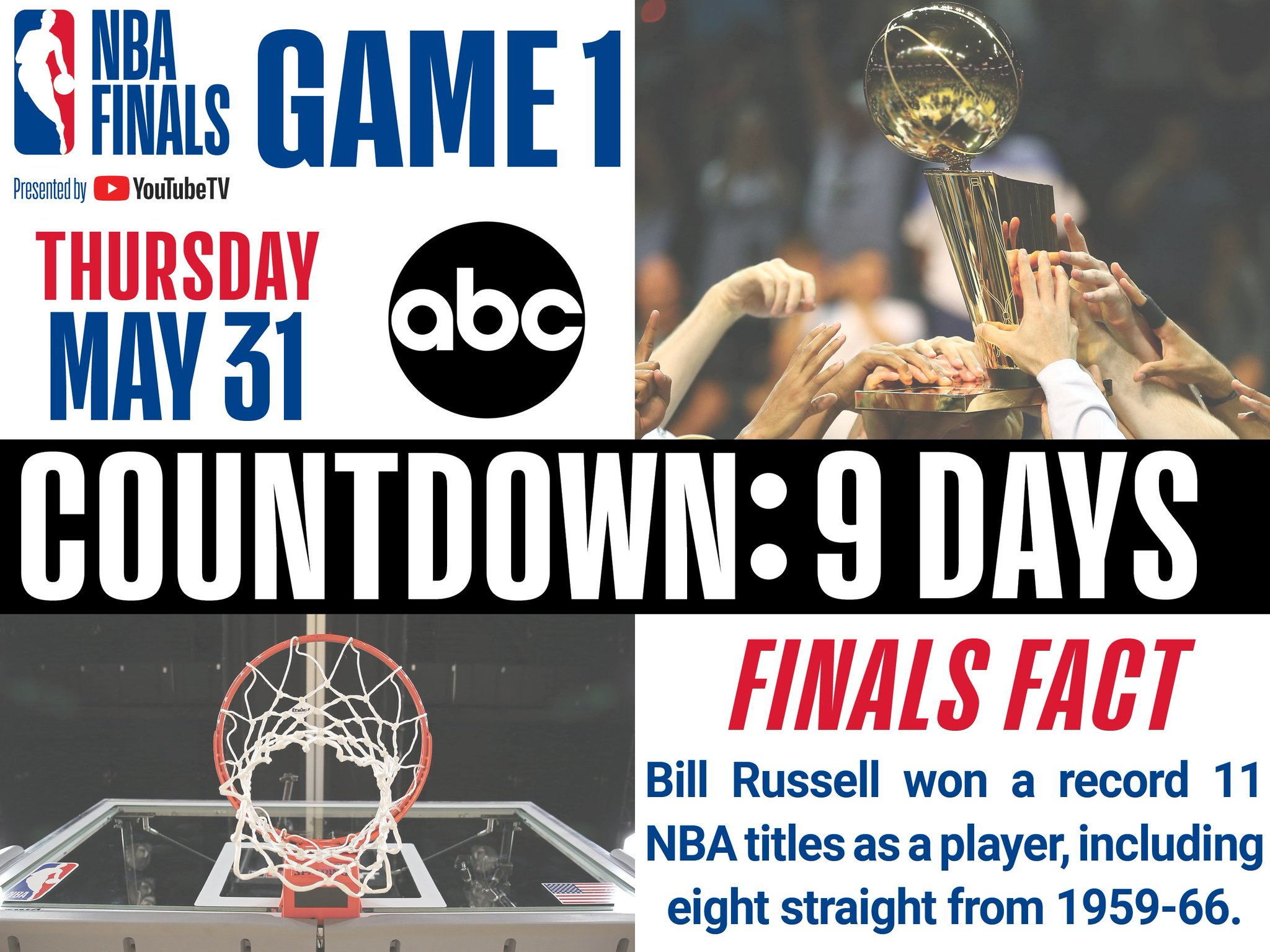 The 2018 #NBAFinals presented by @YouTubeTV tips off in 9 Days (5/31 #NBAonABC)! https://t.co/hFWtYhZlJs