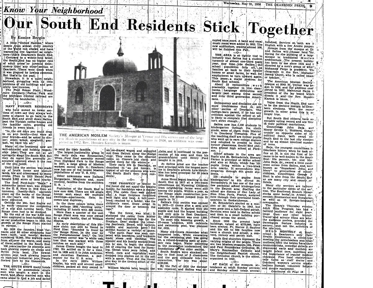 1958: Dearborn Press Newspaper Features Local Arab American Community