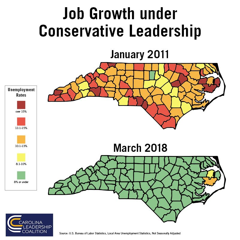 What impact does a conservative #ncga majority make? Jobs. Jobs. Jobs. All across the state. #ncpol<br>http://pic.twitter.com/81Eln6qi2Q