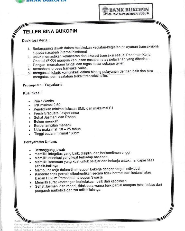 Umy No Twitter Lowongan Kerja Bank Bukopin Posisi Teller Bank Penempatan Yogyakarta Kirimkan Surat Lamaran Dan Cv Ke Kantor Bukopin Terdekat Lowkerumy Https T Co 22mu1itrx8