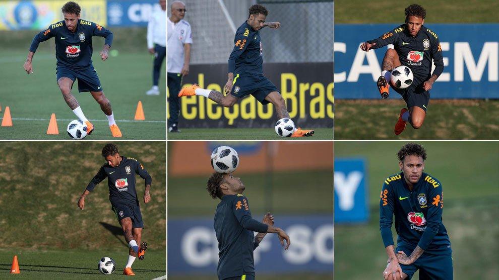 Neymar ya carbura para el Mundial: así se entrenó por sorpresa con Brasil trib.al/KpXR1Mr #Rusia2018