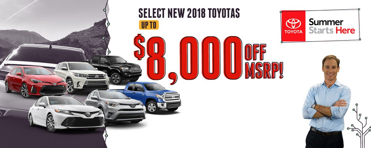 Kick Off Your Summer With Great Savings At Fred Anderson Toyota Of Sanford.  Right Now, Get Up To $8,000 Off MSRP On Select New 2018 #Toyotas. ...