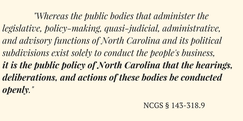 To have a government &quot;of the people, for the people, and by the people,&quot; citizens must have access to government deliberation.  The people&#39;s business should not be conducted in secret.    #ncpol #NCGA <br>http://pic.twitter.com/6F9UAk3pIi