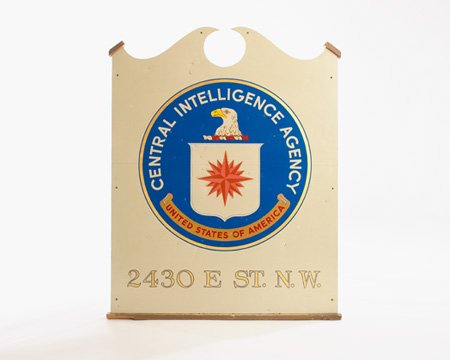 """CIA #Museum Artifact of the Week: E Street Complex Sign w CIA Seal  """"2430 E St. NW"""" was the address of the original CIA Headquarters, which we took over from the OSS. E Street Complex is across from the present-day US State Department in Washington, DC.  https://t.co/EiGBjT0Xex"""