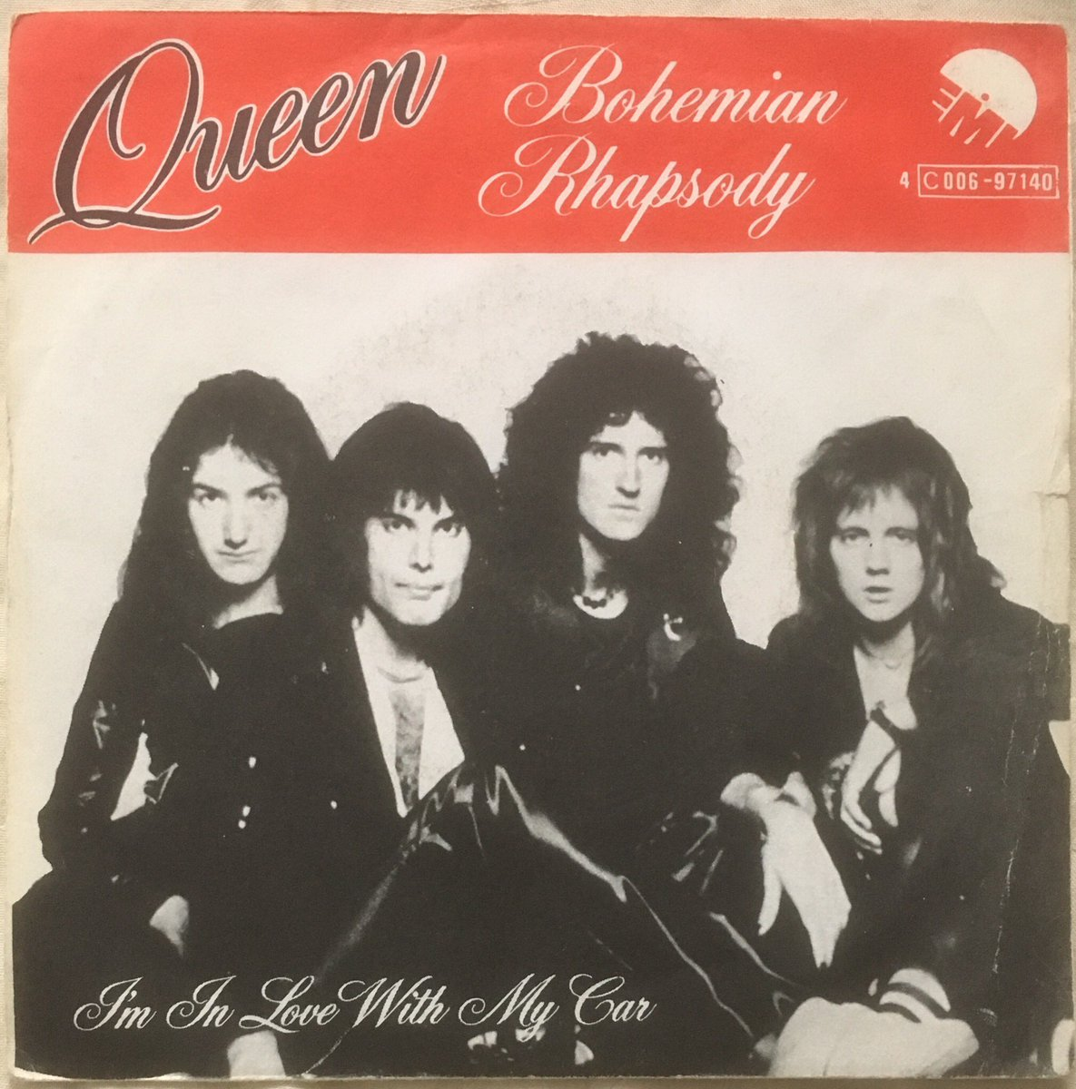 "142/ ""Bohemian Rhapsody"": 7"" Belgium Picture cover. Cover is a similar design to the UK release with the additional banner and labelling at the top. Nice rich colourful labels, backed with ""I'm in love with my car"" #Queen #FreddieMercury #brianmay #JohnDeacon #RogerTaylor<br>http://pic.twitter.com/DQGbmW6kG4"