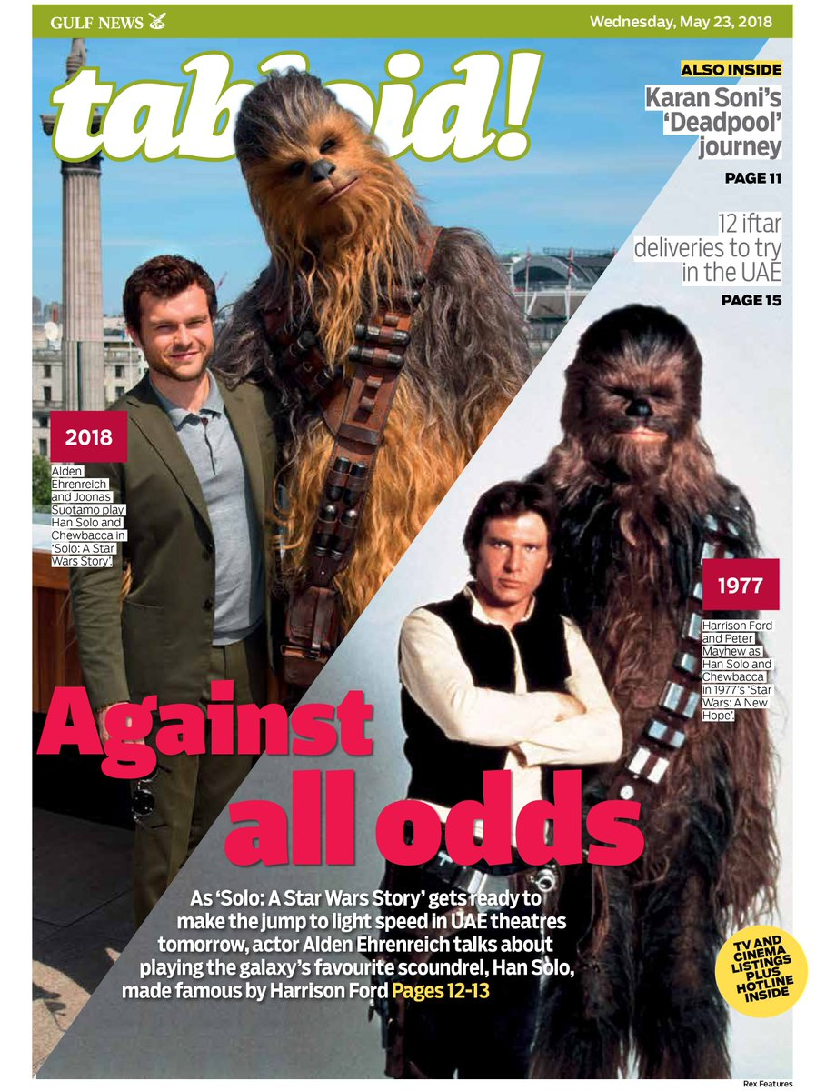 As #SoloAStarWarsStory releases in the #UAE tomorrow, we speak with #AldenEhrenreich who plays #HanSolo a character made famous by #HarrisonFord in the film franchise #TabloidCover https://t.co/1pUeTGuQAY