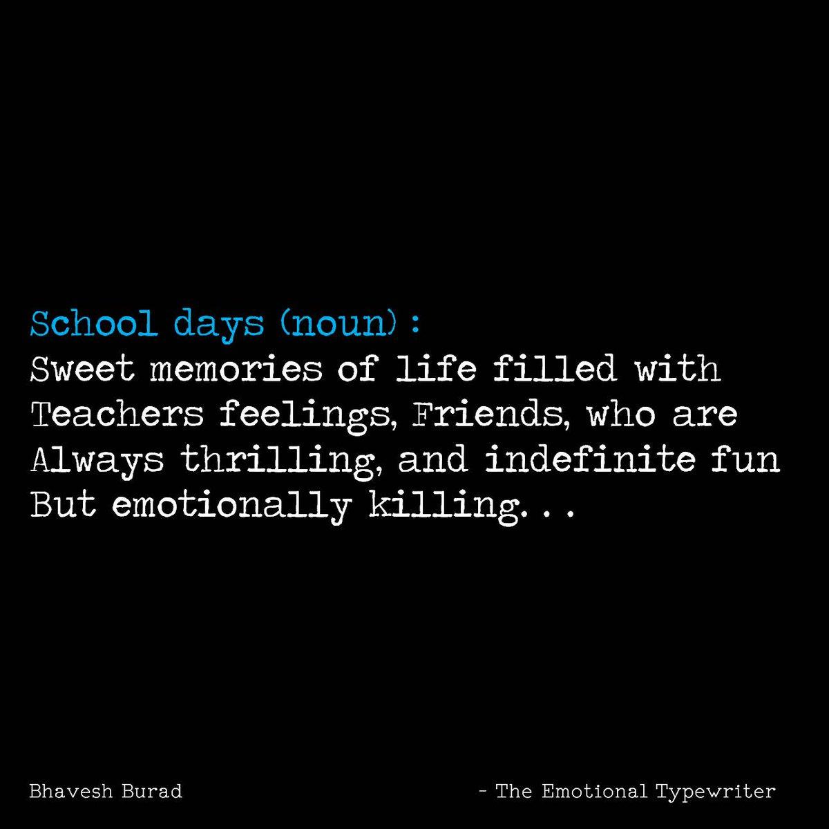 Emotionaltypewriter On Twitter School Days Life