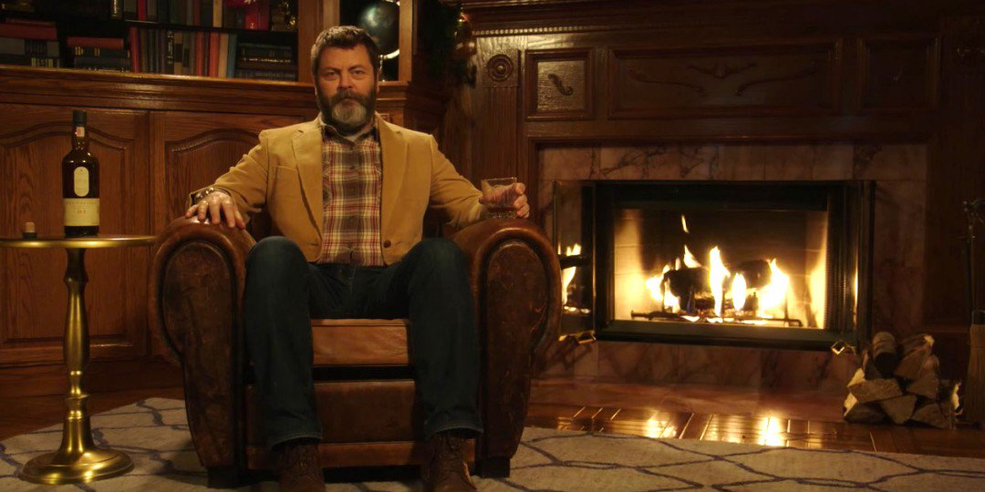 """Open Culture on Twitter: """"Just 45 Straight Minutes of Nick Offerman Quietly  Drinking Single Malt Scotch by the Fire https://t.co/SWMUOdnHEY… """""""