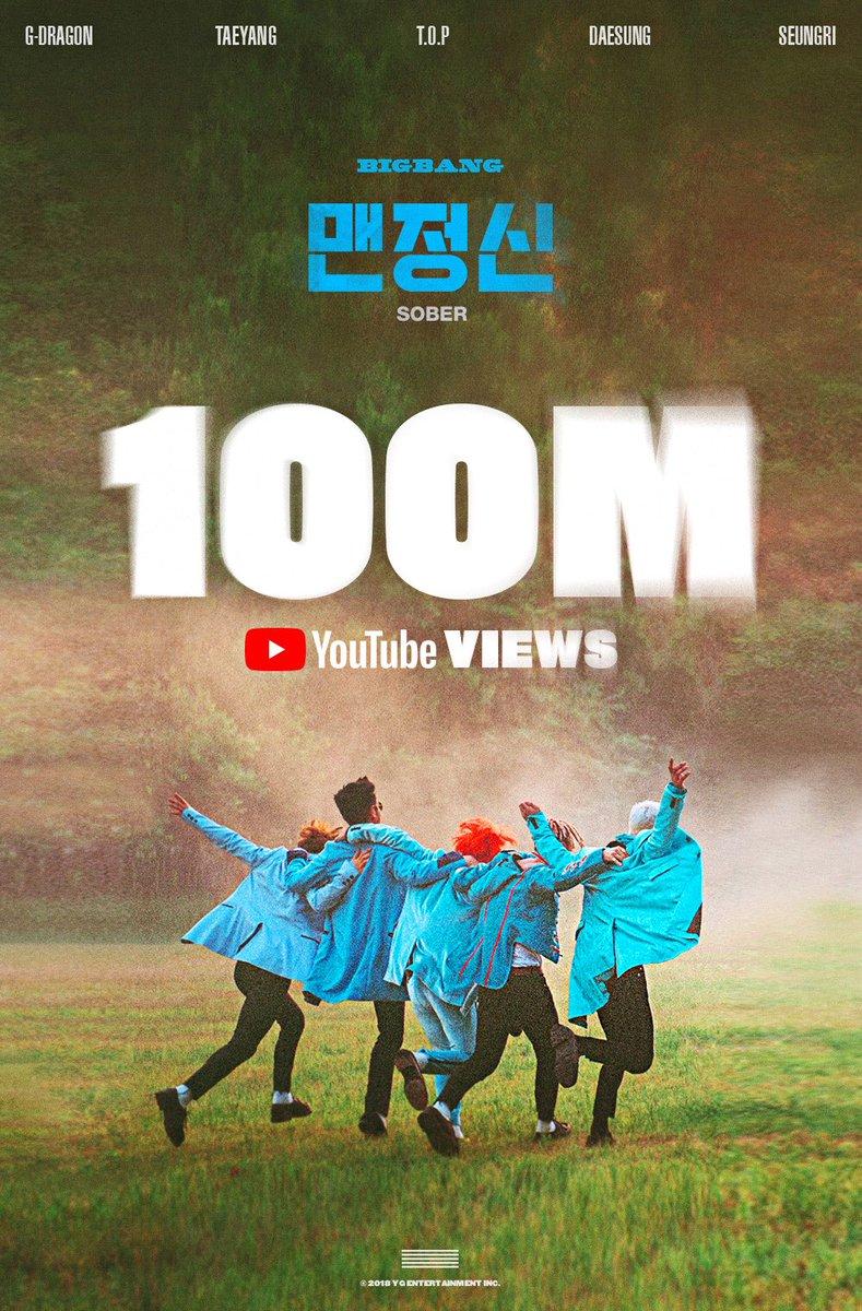 #BIGBANG '#맨정신(#SOBER)' M/V Hits 100 Million Views on @YouTube  https://t.co/BbTHuGiCIV  #빅뱅 #YG
