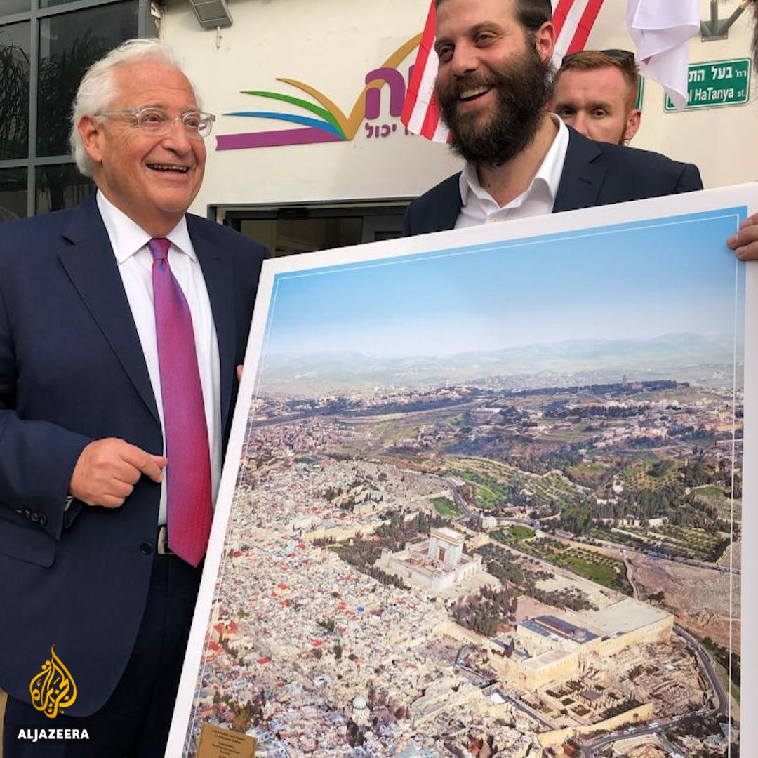 The US ambassador to Israel posed next to a poster showing the Third Jewish Temple replacing Al-Aqsa mosque https://t.co/tOqTdPhMbc