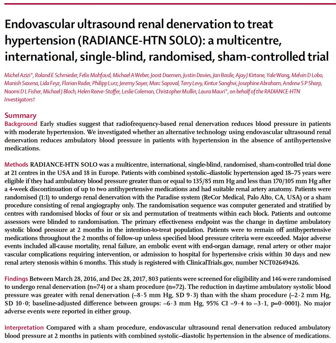 Two new sham-controlled trials today of renal denevation and hypertension on and off meds reported positive, using ultrasound and radiofrequency energy delivery. Diff vs. sham ~4-7 mmHg in ambulatory BP, equivalent to 1-1.5 medications. No major safety concerns through 6 months. <br>http://pic.twitter.com/oAODOi34CH