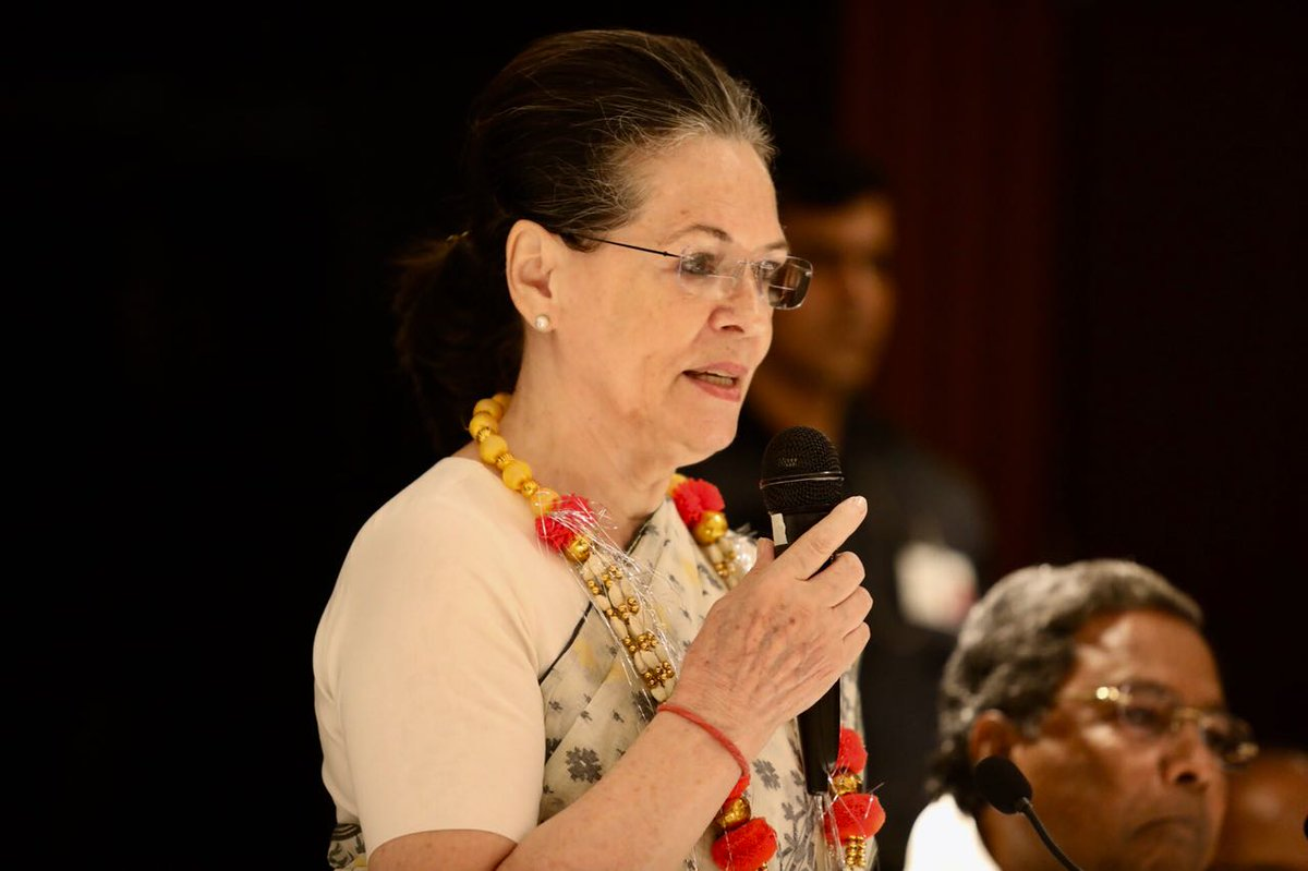 UPA Chairperson Smt Sonia Gandhi & Congress President  add@OfficeOfRGress the newly elected Congress MLAs in Bengaluru.