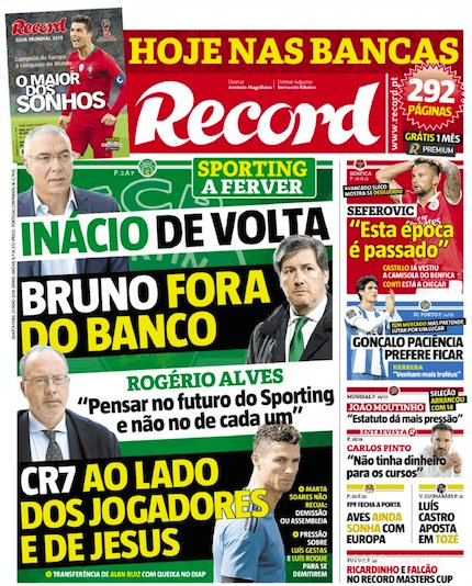 Sapo On Twitter Inácio De Volta Bruno Fora Do Banco Rogério Alves