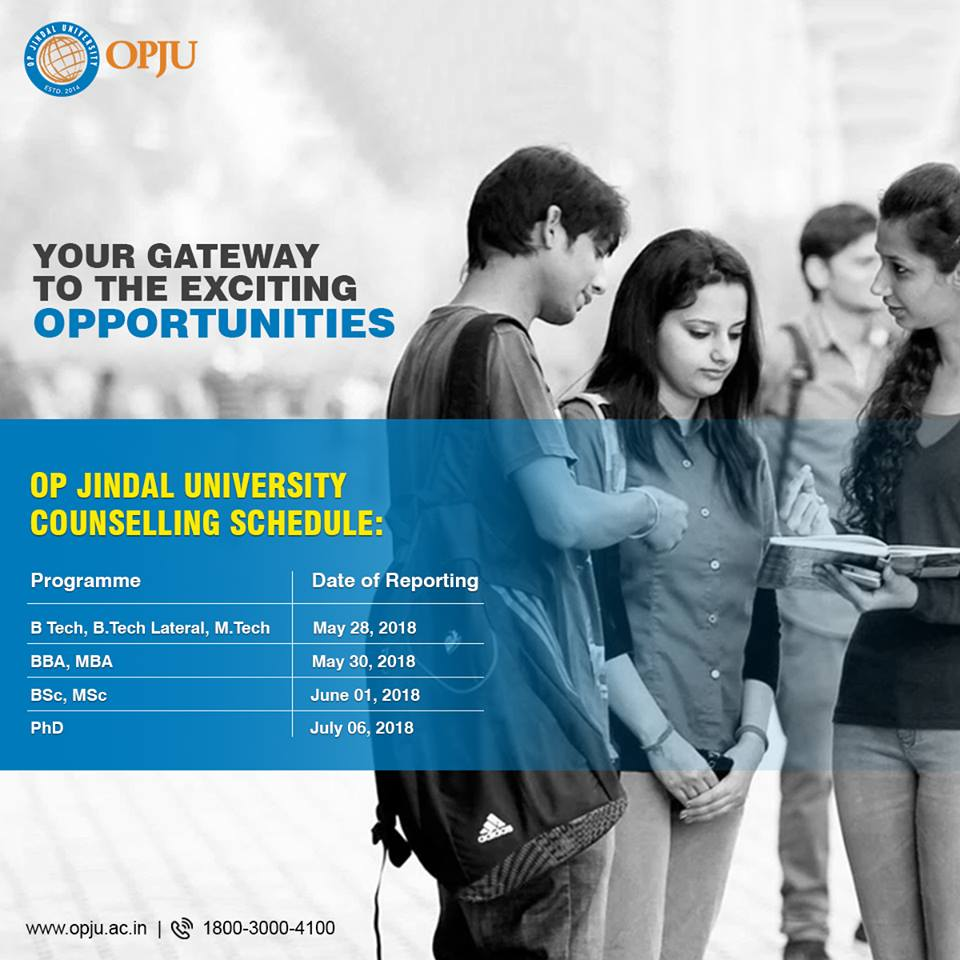 Dear students,  Don&#39;t miss the opportunity to lead your career to a brighter future. We are counting on you to make this your best year yet at OP Jindal University.  #CounsellingSchedule #OPJU Raigarh #Admission2018<br>http://pic.twitter.com/tvbzvjzz4n