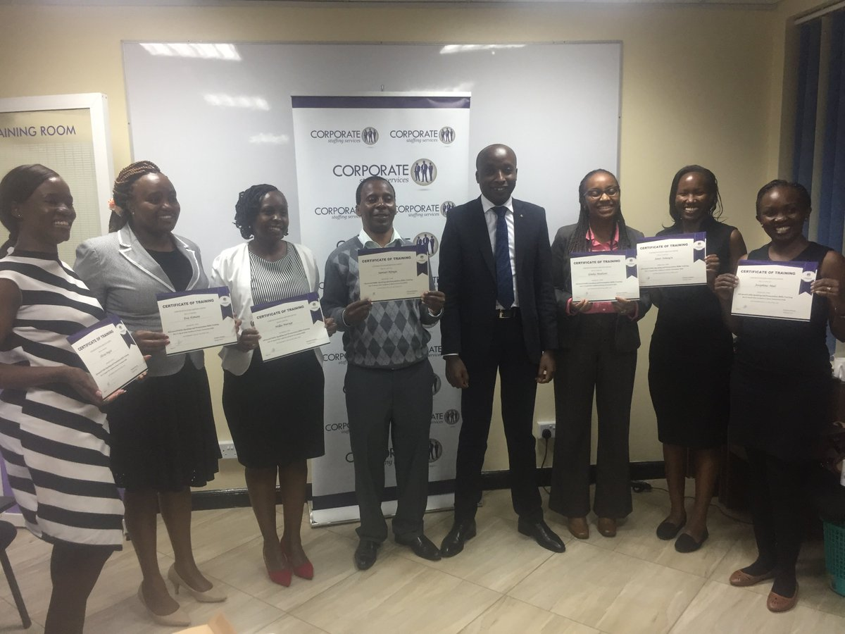 Yesterday evening we held our graduation for 8 of our traininees who graduated from the &quot;Speak with confidence&quot; class.  The next cohort starts next week (29th May) from 6:00pm. Registration is ongoing through this link:  https://www. corporatestaffing.co.ke/training/publi c-speaking-training-kenya/ &nbsp; …   #training #publicspeaking <br>http://pic.twitter.com/tqVKWPeeZl