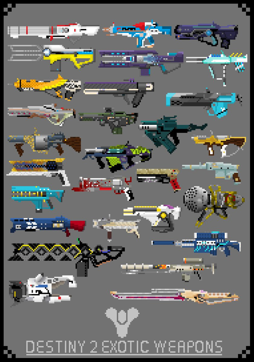 Destiny 2 Exotic weapons Pixel Art