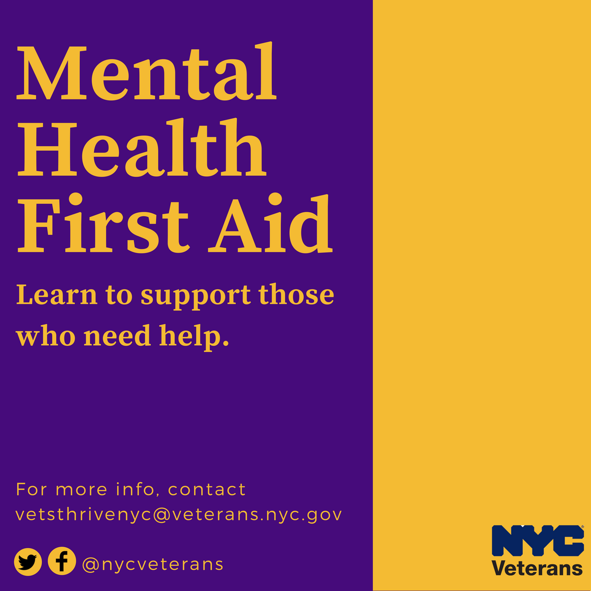 Nyc Veterans On Twitter Get Certified In Mental Health First Aid