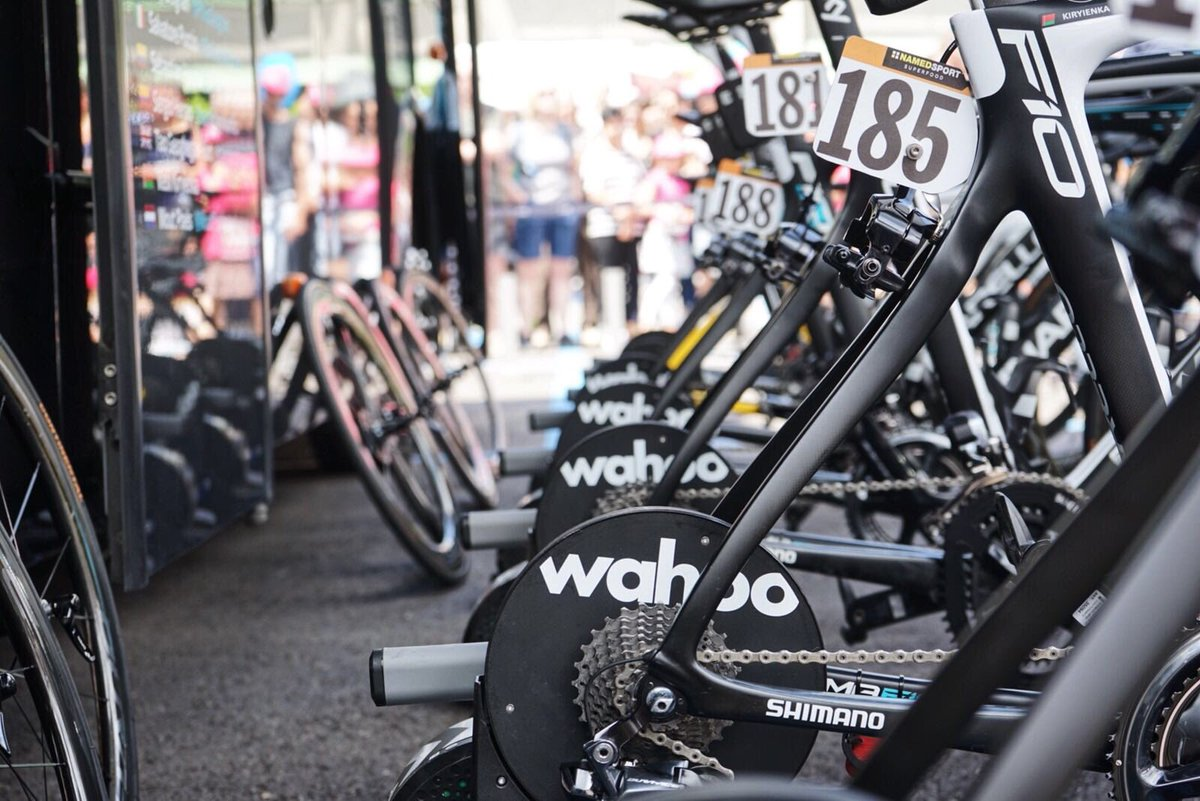 It's a tough intro to today's #Giro101 test - uphill out of Riva del Garda. Time to get the KICKRs out! @wahoofitness