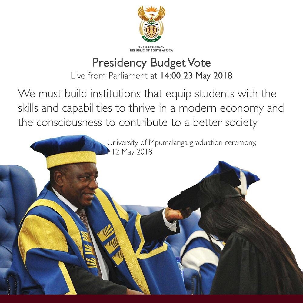 President #Ramaphosa will present the #PresidencyBudget Vote at 14:00 in the National Assembly, Parliament today