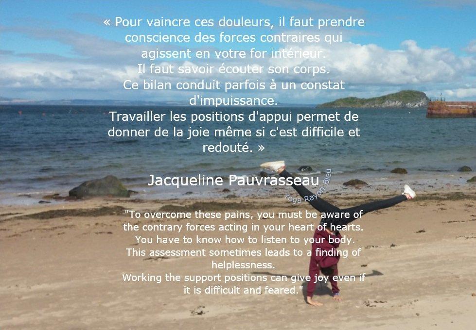 «Pour vaincre ces douleurs, il faut prendre conscience...» #JacquelinePauvrasseau &quot;To overcome these pains, you must be aware of the contrary forces acting in...&quot; Source : La république centre2012 Photo #YogaRayonBleu 2017Scotland #yoga #citations #yogafrance #yogalove #yogatime<br>http://pic.twitter.com/1ul885483d