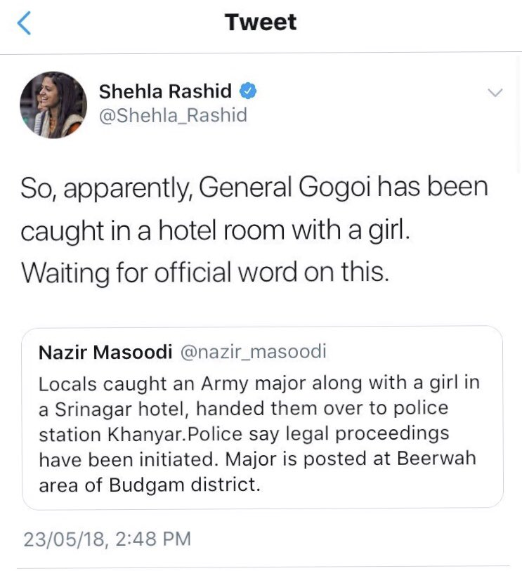 Shehla @Shehla_Rashid , I cant see this tweet on your TL. Did someone photoshop it or you've deleted it? <br>http://pic.twitter.com/pdmhijGY05