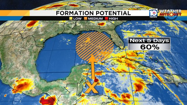 test Twitter Media - The NHC is giving this broad surface low pressure near the coast of Belize a 60% chance of tropical cyclone development as this low moves into the Gulf of Mexico. Regardless of development it will be a rain maker for SFLO. https://t.co/LGFFALkqkh
