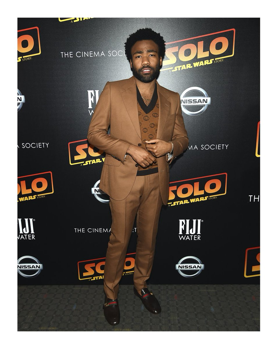 8aa0dcdfbfd ... print and leather loafers with House Web and GG detail to the New York  premiere of the film  Solo  A Star Wars Story  in New York City.