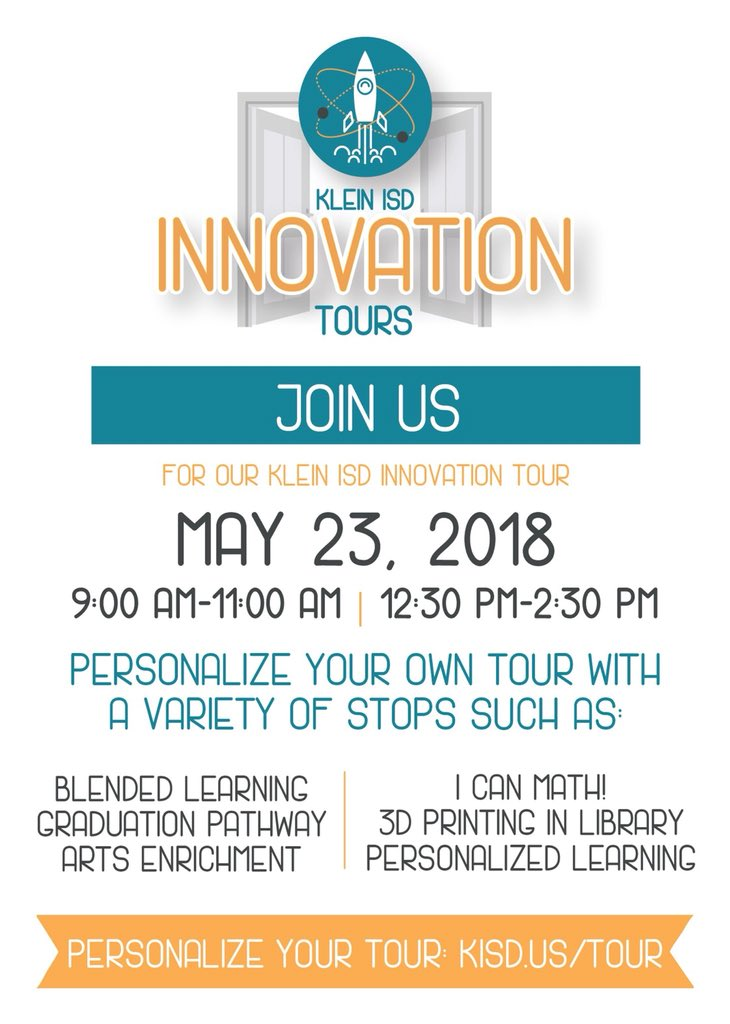 Our KLEIN INNOVATION TOURS are happening TODAY! Interested to see Personalized Learning in action? Want to experience a makerspace? Join us today for answers to these questions &amp; much more. Visit  http:// kisd.us/tour  &nbsp;   to find the campuses &amp; times that best fit your schedule.<br>http://pic.twitter.com/13dl22HjEi