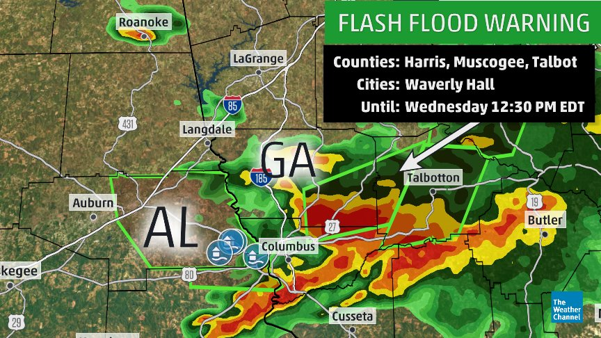 The Weather Channel On Twitter Flash Flood Warnings Are In Effect For Parts Of Alabama Georgia With Reports Of Bridges Washed Out And Homes Flooded West Of Columbus Ga Https T Co Kiilpu5a0a
