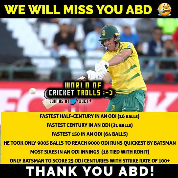 You will be missed legend @ABdeVilliers17 #ABretires #ABDevilliers<br>http://pic.twitter.com/qqBRKUnrBT