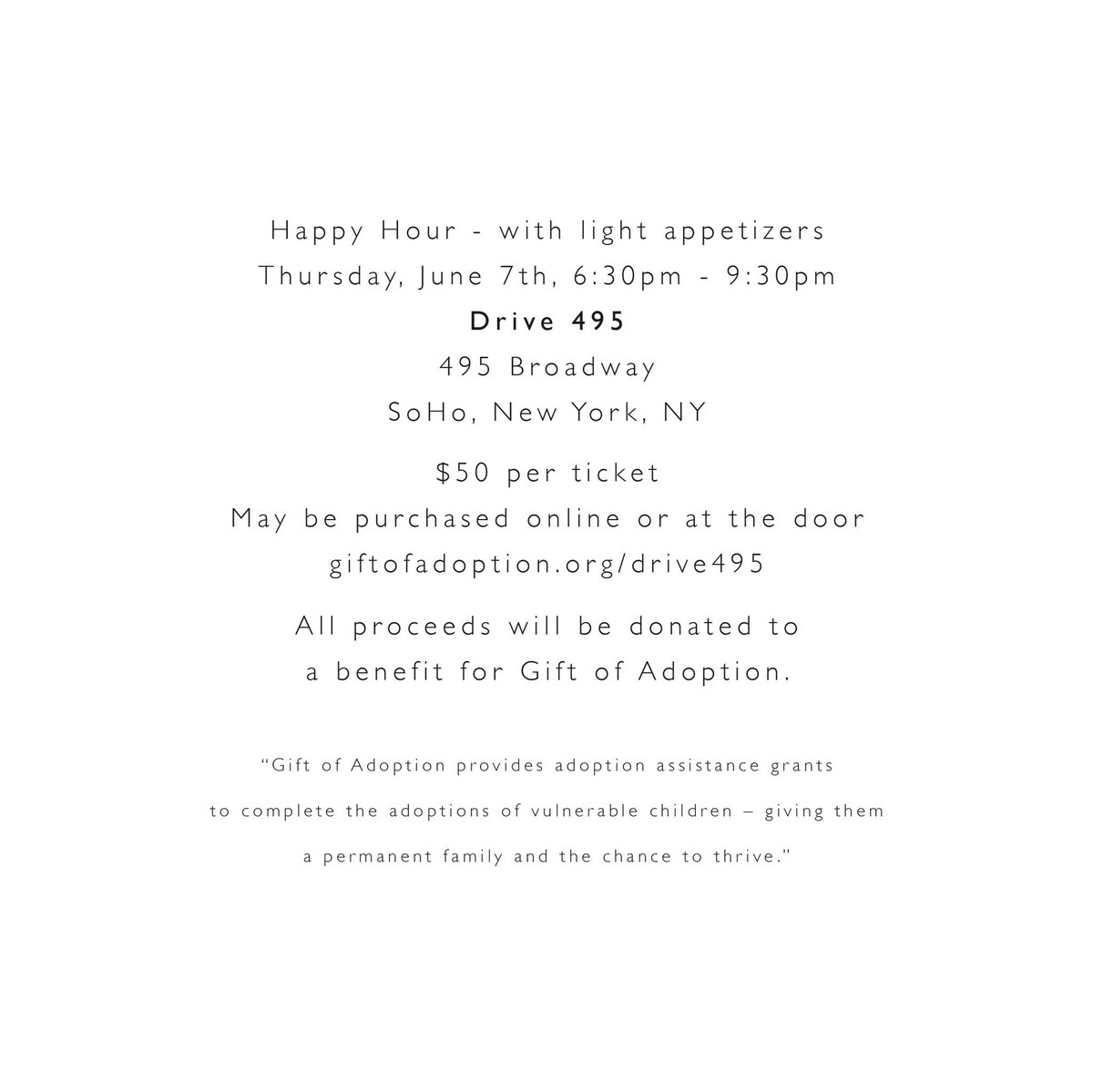 Join @julia_marino at @Drive495 for a @GiftofAdoption benefit!