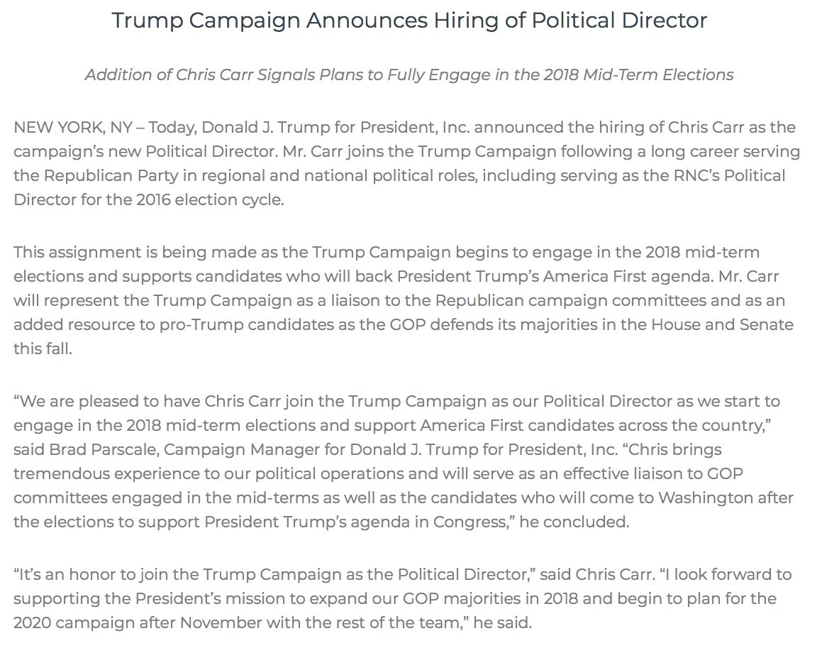 NEW: Trump campaign hires Chris Carr as political director.  Carr will be 'an added resource to pro-Trump candidates as the GOP defends its majorities in the House and Senate this fall,' the campaign says. https://t.co/Zw5mOX5ECg