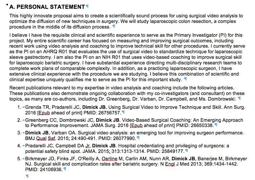 Example Of Personal Statement For Nih Biosketch - 10 tips on