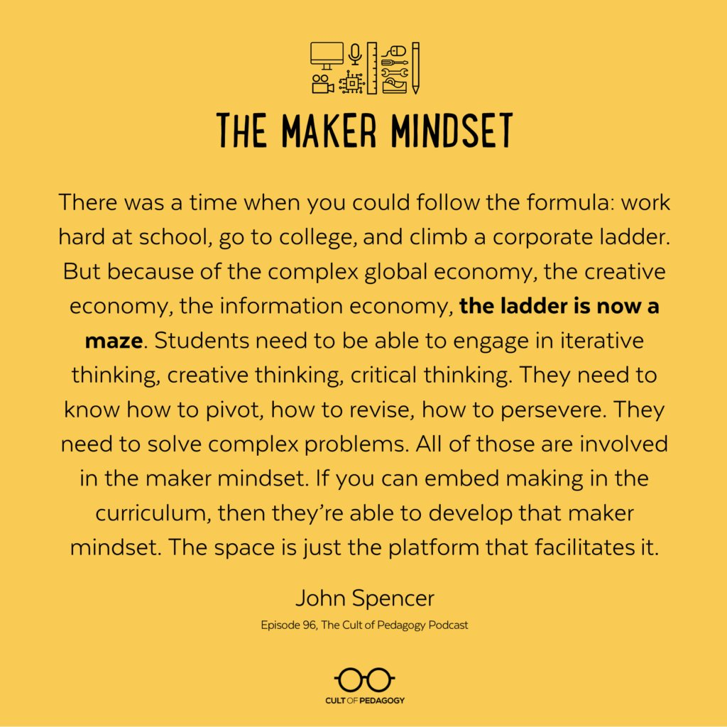 Why would teachers want a #makerspace in their classrooms?  Get some insight with this article by @cultofpedagogy  &amp; @spencerideas -  https://www. cultofpedagogy.com/makerspace/  &nbsp;   #makerED #makerspaces<br>http://pic.twitter.com/Q3JPsTEmbc