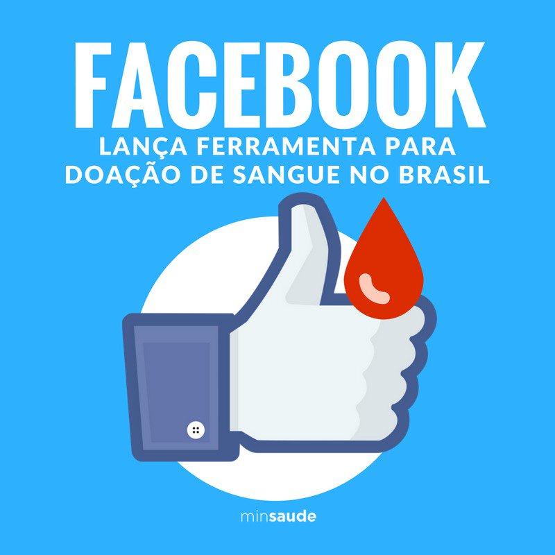 O @facebook lança hoje uma ferramenta para incentivar doação de sangue no Brasil. Esta ferramenta  vai permitir que banco de sangue acione pessoas cadastradas para ajudar a reforçar estoque de sangue. Este é trabalho conjunto da rede social com o Ministério da Saúde. #DoeSangue