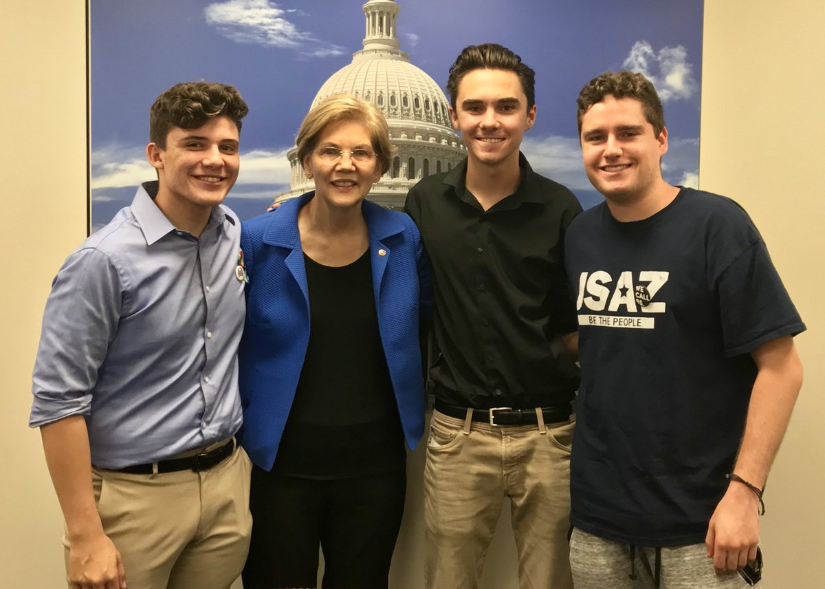 Yesterday, I met with @AMarch4OurLives leaders @Alfonso_Cal, @davidhogg111, and @charlie_mirsky. Congress still hasn't found the courage to act on gun violence – but these students continue to bravely lead the fight. I'm proud to stand with them.