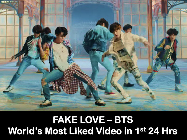 #BTS's #FakeLove MV Breaks YouTube World Record For Most Liked Video On 1st Day of Release!👏1⃣🎞️🌏🏆🕺🕺🕺🕺🕺🕺🕺🔥🌟👑 https://t.co/cMSLoofAP2