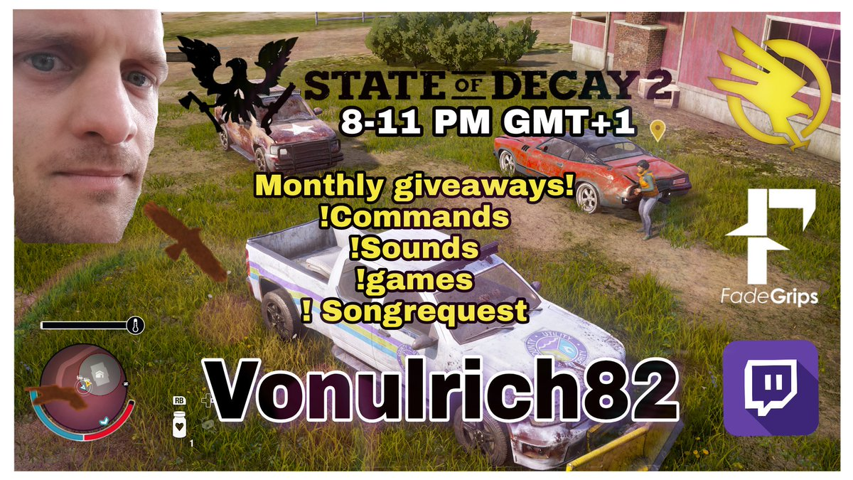 @StateOfDecay 2 on @XboxOneX  Goal 1500 Influence and Base Swap.  #Monthly #giveaway earn 500 Elitecoins to enter.    http:// Twitch.tv/Vonulrich82  &nbsp;     @SWEstreaming @SecondWaveElite @FadeGrips  @cgndotus @cgnstreams @TwitchSharer @twitchauto @SupStreamers @Twitch_RT<br>http://pic.twitter.com/o4mhmdZcEg