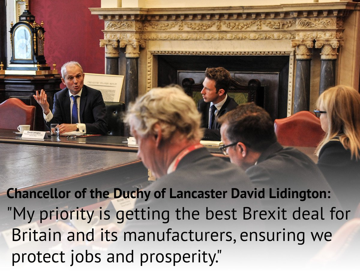 Today Cabinet Office Minister @DLidington met representatives from the manufacturing sector to talk about how UK government is working to guarantee the best possible Brexit deal for Britain and its manufacturers. Find out more here: https://t.co/oLjiBIkmOz