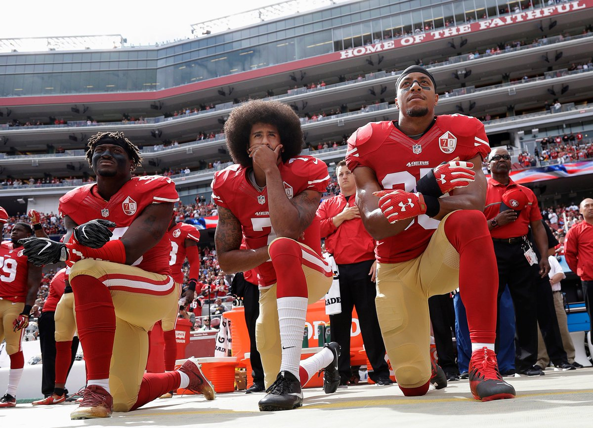 The NFL said it will punish players if they don't stand during the national anthem. Their team will be fined and players may face more penalties.  It said players who don't wish to stand can remain off-field.
