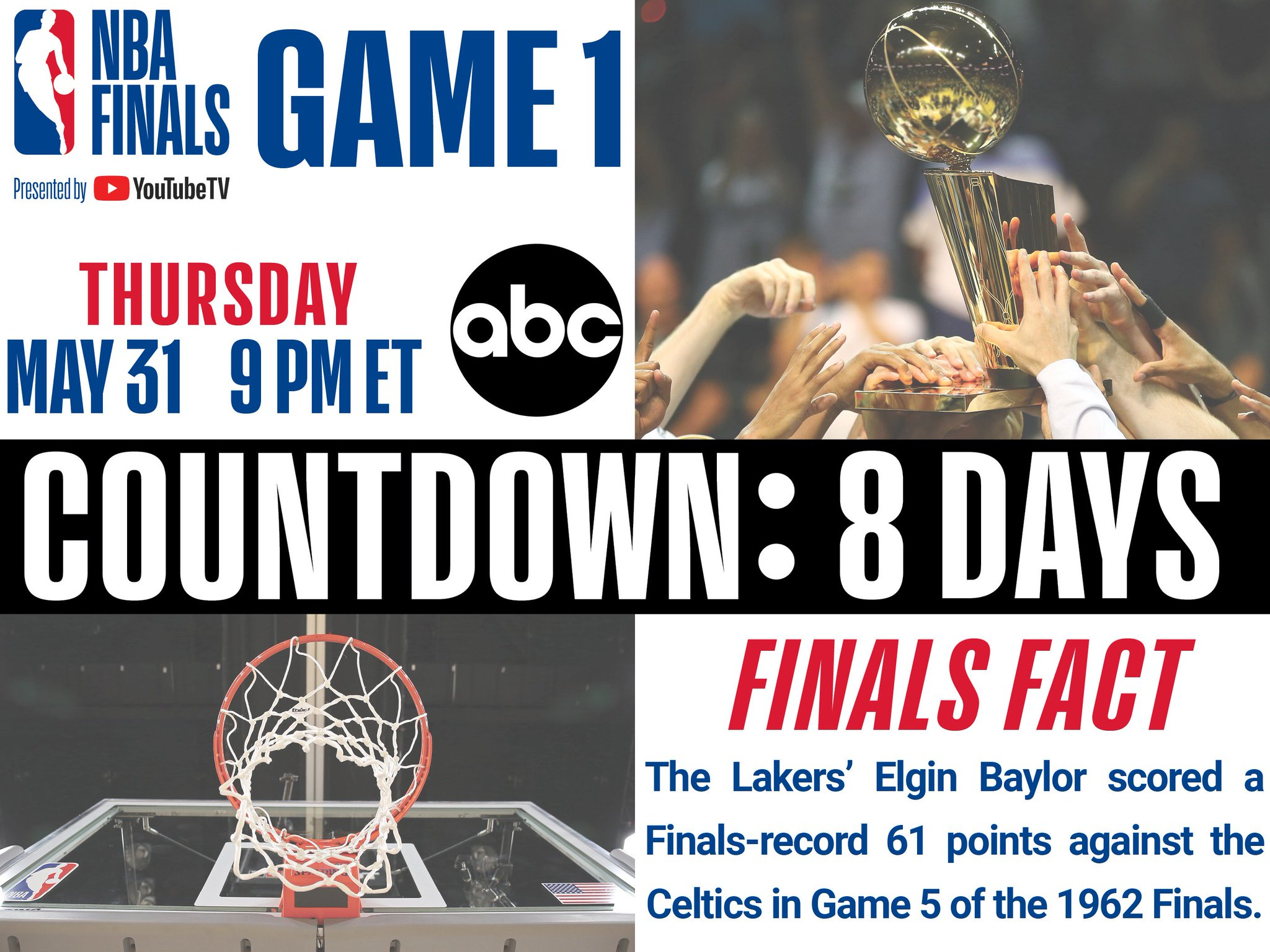 The 2018 #NBAFinals presented by @YouTubeTV tips off in 8 Days (5/31 #NBAonABC)! https://t.co/pIkJKnkjpb