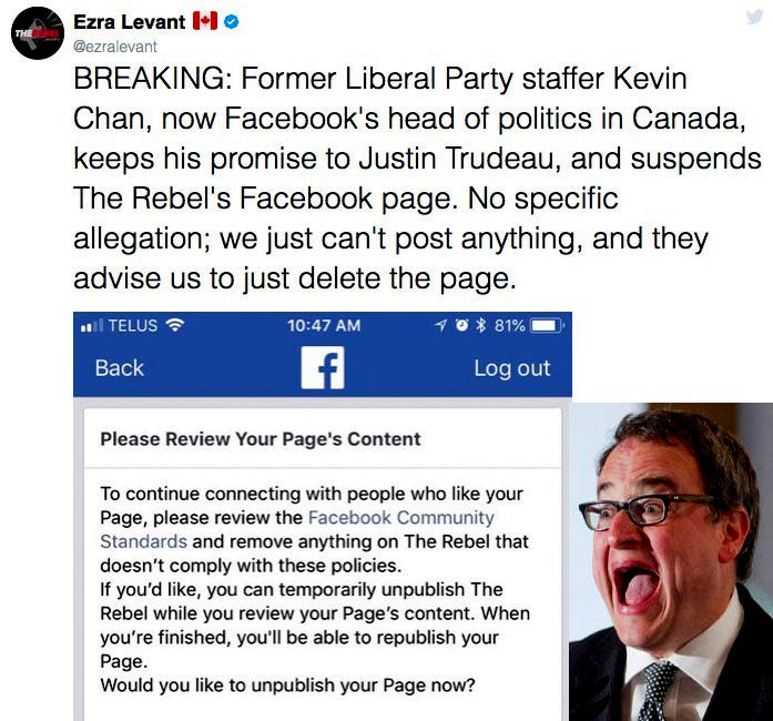 Woohoo put on your party hats !! The professional bigot Ezra Levant&#39;s Facebook site has collided with the iceberg of decency. I can only imagine how loudly the &quot;Rebel Commander&quot; must be screaming and begging for mercy and money. #cdnpoli<br>http://pic.twitter.com/yFE2jiAE2a