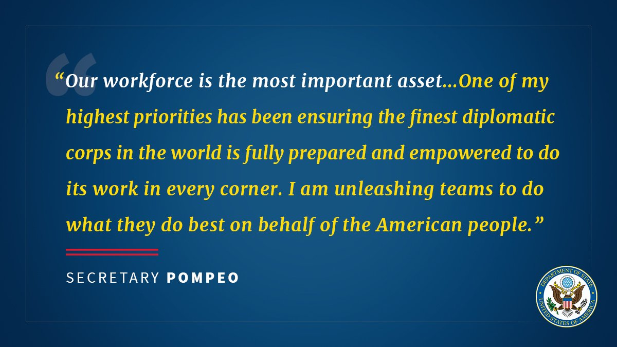 'Our workforce is the most important asset.' -@SecPompeo https://t.co/faMITrW8c2 https://t.co/sFvlqurlUi