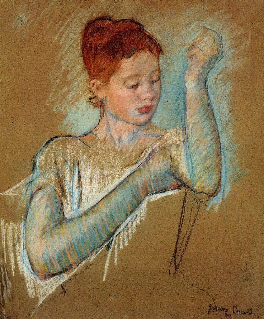 #DonneInArte #redhair #ArtLovers #impressionism  Quel tocco d'eleganza  Mary Cassatt, The Long Gloves, 1889 Coll. priv.  @emanuelaneri14 @redne2013 @BrindusaB1 @Hakflak @gherbitz @lomazzi_r @AlessandraCicc6 @scastaldi9 @dadagioia @Papryka5 @Rebeka80721106 @bmarczewska<br>http://pic.twitter.com/kzYZXn3KKh