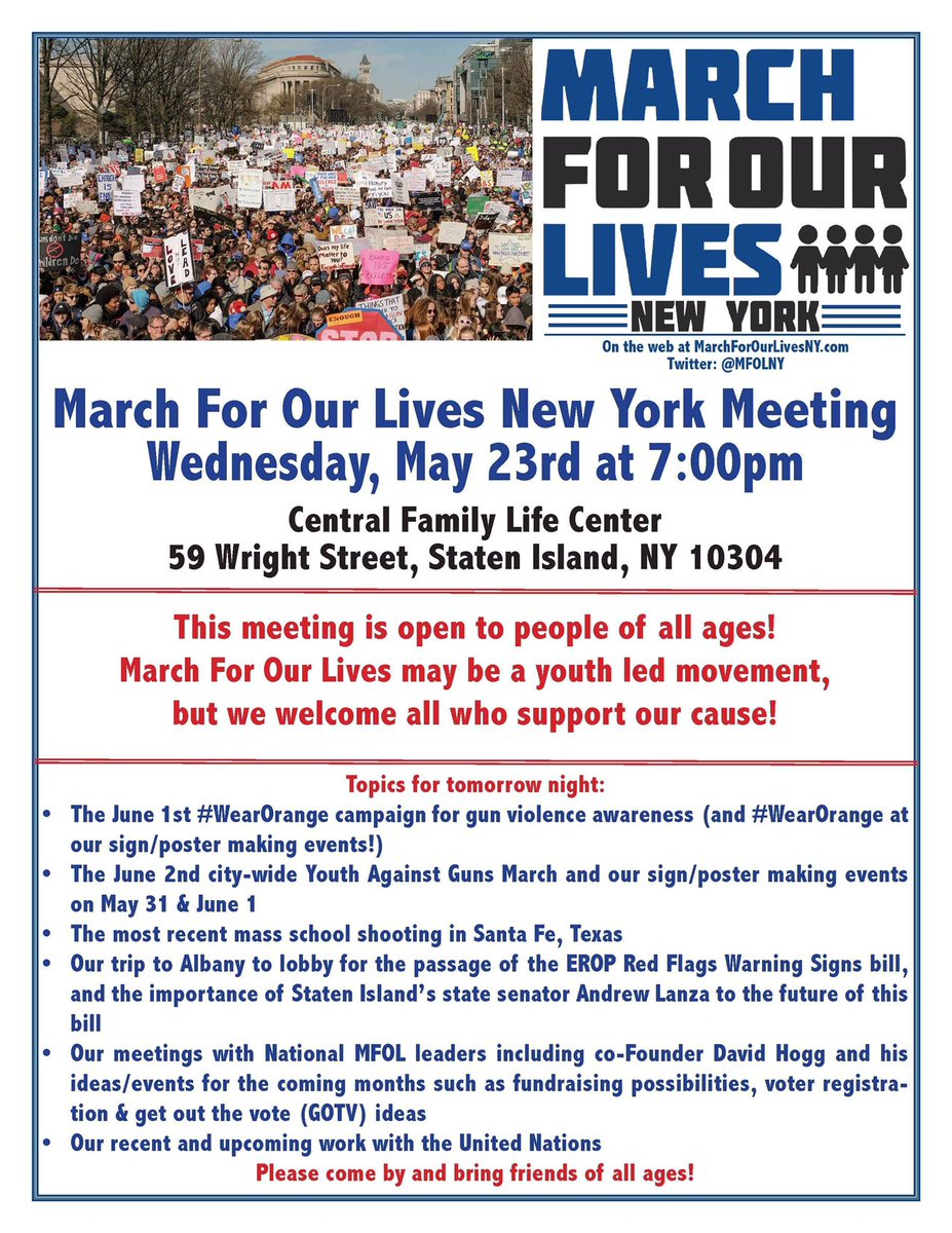 RT @MFOLNY Join us TONIGHT for a meeting with the community tonight at 7 PM at the central family life center on Staten Island.