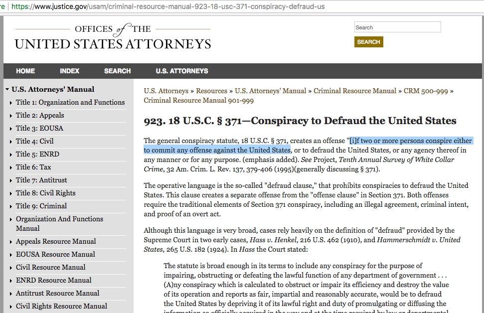 Thatu0027s Conspiracy, Regardless Of Outcome.  Https://www.justice.gov/usam/criminal Resource Manual 923 18 Usc 371 Conspiracy  Defraud Us U2026pic.twitter.com/ ...